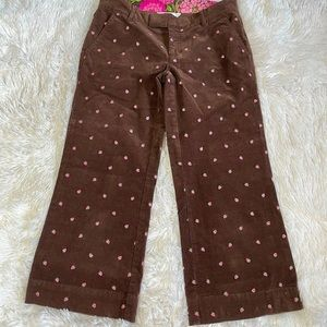 Lilly Pulitzer Strawberry Corduroy Brown Pants